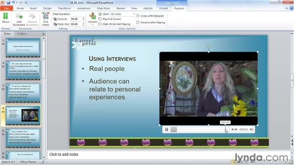 Trimming a video: PowerPoint 2010: Audio and Video in Depth