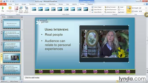 Cropping a video: PowerPoint 2010: Audio and Video in Depth