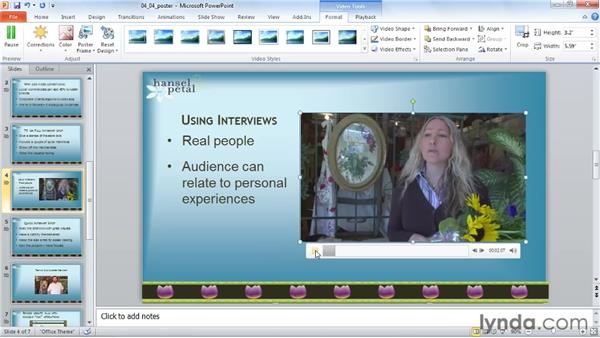 Selecting a poster frame: PowerPoint 2010: Audio and Video in Depth