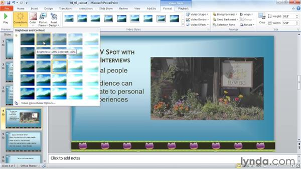 Adjusting brightness and contrast: PowerPoint 2010: Audio and Video in Depth