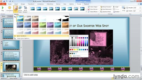 Recoloring a video: PowerPoint 2010: Audio and Video in Depth