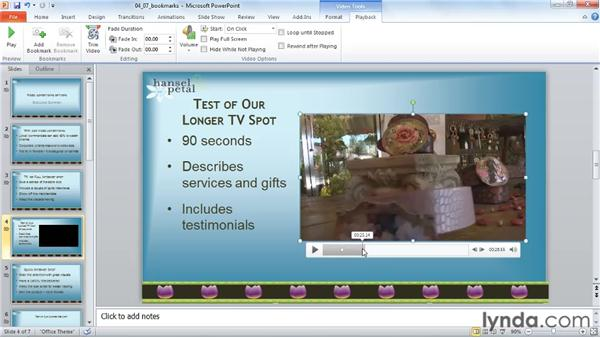 Adding video bookmarks: PowerPoint 2010: Audio and Video in Depth