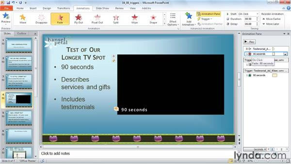 Synchronizing text captions with bookmarks: PowerPoint 2010: Audio and Video in Depth