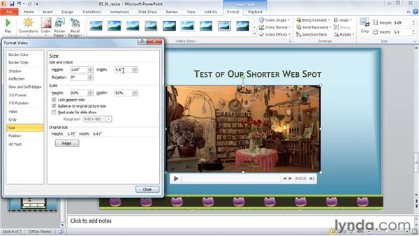 Resizing a video: PowerPoint 2010: Audio and Video in Depth