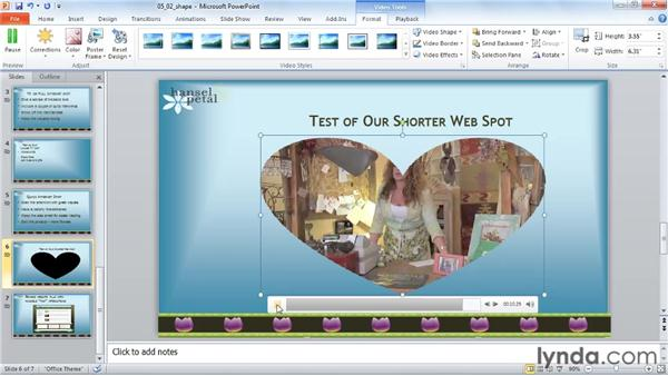 Playing a video in a shape: PowerPoint 2010: Audio and Video in Depth