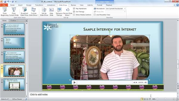 Showing and hiding media controls : PowerPoint 2010: Audio and Video in Depth