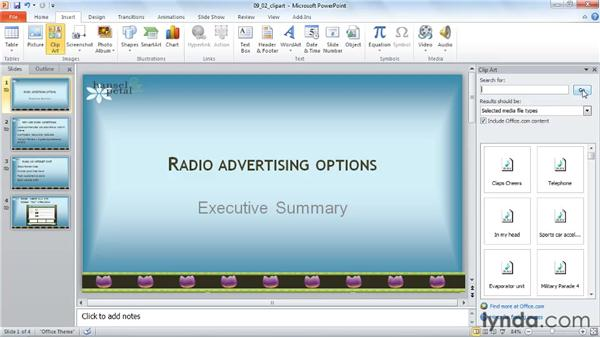 Inserting a sound from the clip art gallery: PowerPoint 2010: Audio and Video in Depth