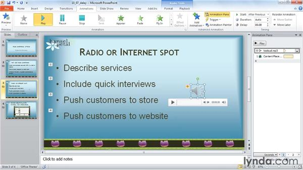 Delaying an audio clip: PowerPoint 2010: Audio and Video in Depth