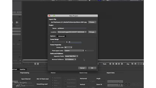 Working with interlaced clips: mocha 2.6 Essential Training