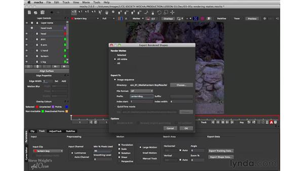 Rendering mattes: mocha 2.6 Essential Training