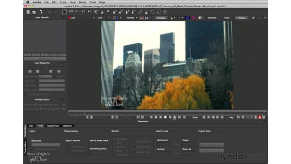 Moving the camera without parallax: mocha 2.6 Essential Training