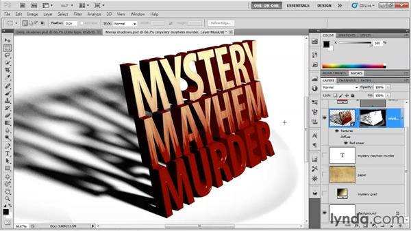 Masking away shadow errors: Photoshop CS5 Extended One-on-One: 3D Type Effects