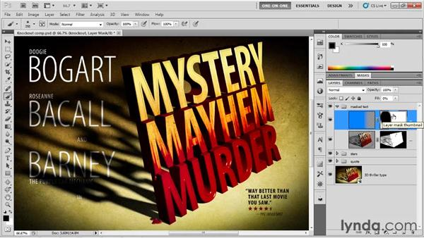 Combining layer mask and density: Photoshop CS5 Extended One-on-One: 3D Type Effects