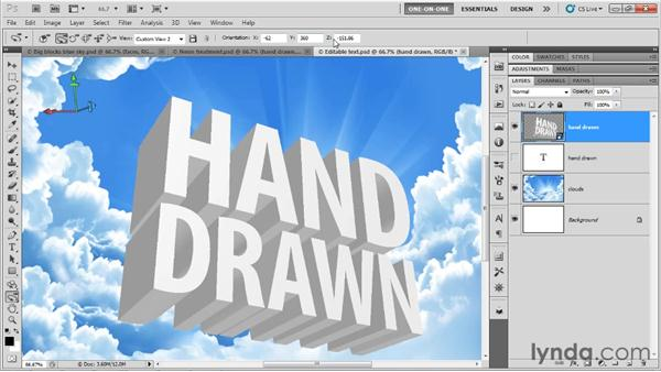 Making hand-drawn type in 3D: Photoshop CS5 Extended One-on-One: 3D Type Effects