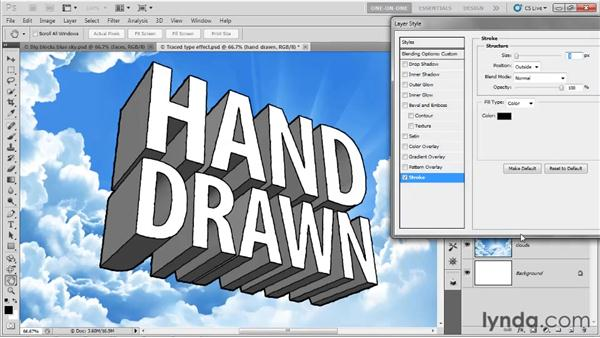 Restoring missing outlines: Photoshop CS5 Extended One-on-One: 3D Type Effects