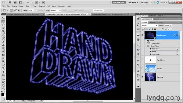 Making a hand-drawn neon effect: Photoshop CS5 Extended One-on-One: 3D Type Effects