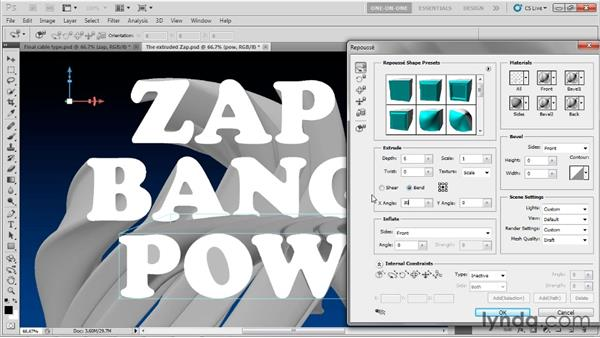 Similarly extruding other type layers: Photoshop CS5 Extended One-on-One: 3D Type Effects