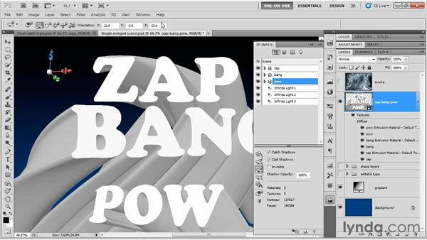 Rotating, positioning, and scaling words: Photoshop CS5 Extended One-on-One: 3D Type Effects
