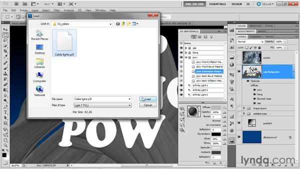 Dressing up the cable-length I-beams: Photoshop CS5 Extended One-on-One: 3D Type Effects