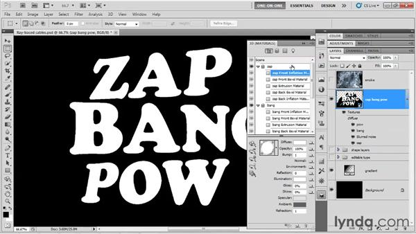 Precisely masking your 3D letters: Photoshop CS5 Extended One-on-One: 3D Type Effects