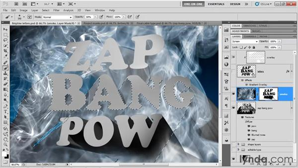 Painting in a 3D smoke effect: Photoshop CS5 Extended One-on-One: 3D Type Effects