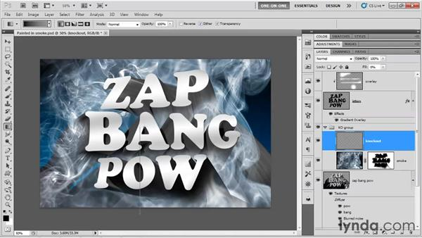 Knocking out the excess smoke: Photoshop CS5 Extended One-on-One: 3D Type Effects