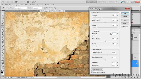 Establishing a worthy grunge background: Photoshop CS5 Extended One-on-One: 3D Type Effects
