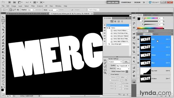 Lifting masks from plain 3D letters: Photoshop CS5 Extended One-on-One: 3D Type Effects