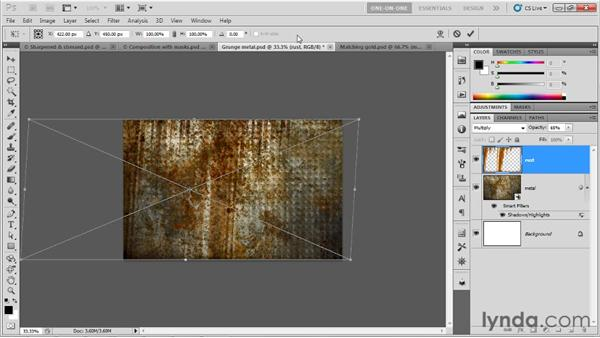 Assigning a rusting grunge-metal material: Photoshop CS5 Extended One-on-One: 3D Type Effects