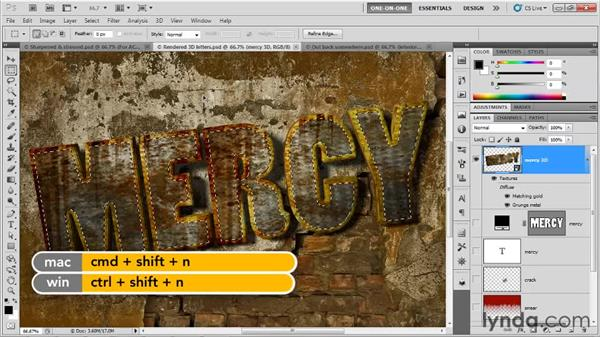 Tracing the faces of your letters: Photoshop CS5 Extended One-on-One: 3D Type Effects
