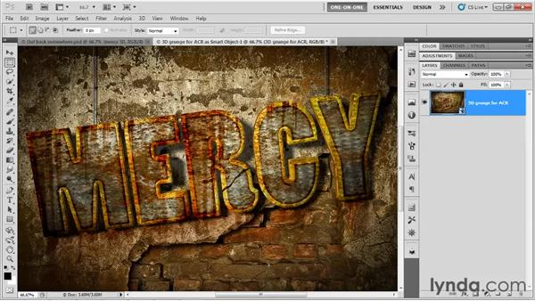 Post-processing type in Camera Raw: Photoshop CS5 Extended One-on-One: 3D Type Effects