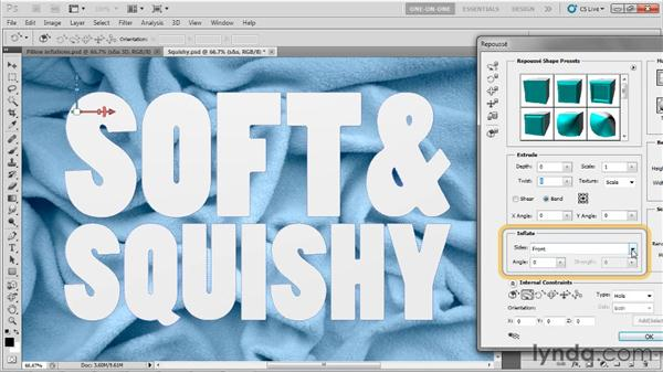 Making a 3D pillow inflation: Photoshop CS5 Extended One-on-One: 3D Type Effects
