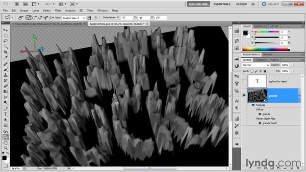Scaling depth-map bumps: Photoshop CS5 Extended One-on-One: 3D Type Effects