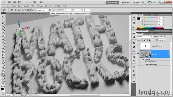 Using the built-in shadow catcher: Photoshop CS5 Extended One-on-One: 3D Type Effects