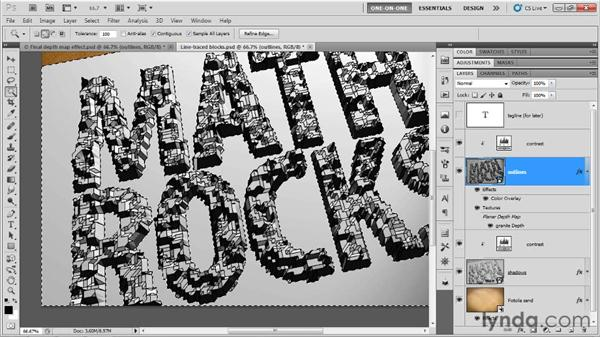 Masking block letters with the Magic Wand: Photoshop CS5 Extended One-on-One: 3D Type Effects