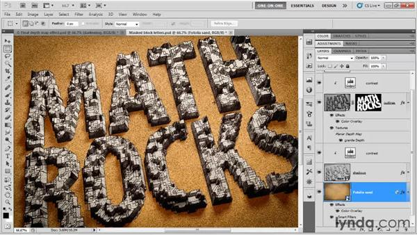 Adding graphic effects to the background: Photoshop CS5 Extended One-on-One: 3D Type Effects
