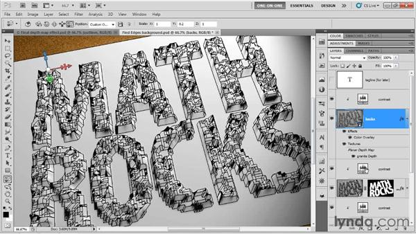 Masking the base of the letterforms: Photoshop CS5 Extended One-on-One: 3D Type Effects