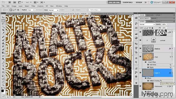 Creating a circuit board pattern: Photoshop CS5 Extended One-on-One: 3D Type Effects