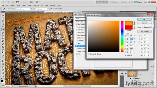 Adding bright 2D shadow type: Photoshop CS5 Extended One-on-One: 3D Type Effects