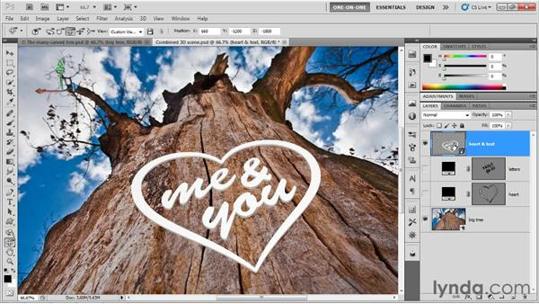 Fixing the type onto the tree: Photoshop CS5 Extended One-on-One: 3D Type Effects