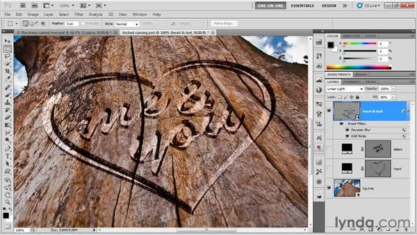 Enhancing carved type with Smart Filters: Photoshop CS5 Extended One-on-One: 3D Type Effects