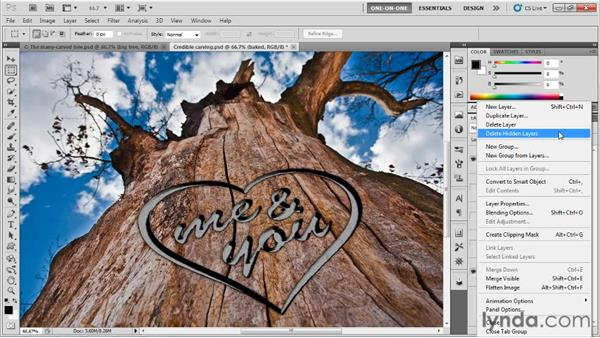 Duplicating the carving up the tree: Photoshop CS5 Extended One-on-One: 3D Type Effects