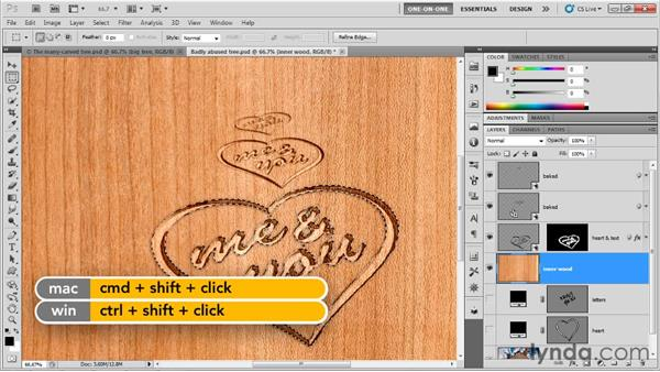 Masking the many bits of exposed wood: Photoshop CS5 Extended One-on-One: 3D Type Effects