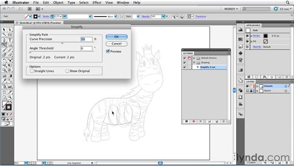 Recording an action for the Simplify command: Illustrator Insider Training: Drawing without the Pen Tool