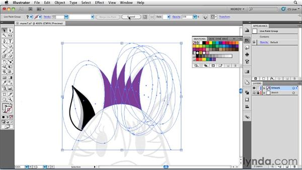 Releasing and expanding Live Paint groups: Illustrator Insider Training: Drawing without the Pen Tool