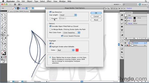 Using Gap Detection with the Shape Builder tool: Illustrator Insider Training: Drawing without the Pen Tool