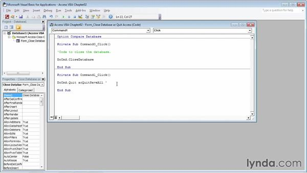 Adding comments to your code: Up and Running with VBA in Access