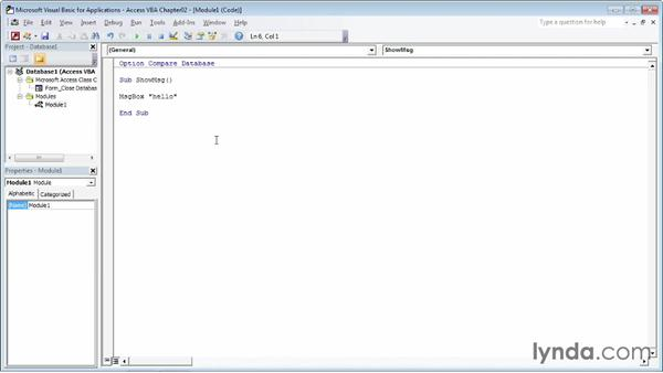 Running a VBA procedure: Up and Running with VBA in Access