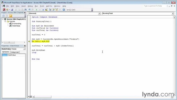 Stepping through a subroutine or function: Up and Running with VBA in Access