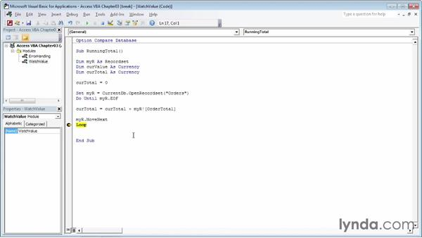 Setting breakpoints in your code: Up and Running with VBA in Access
